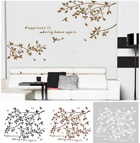 living room decals black removable tree branches birds vinyl wall sticker