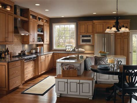Maple Kitchen Islands Schrock Ainsley Door Style On Maple With Palomino Tidal Mist Finishes Warm And Wonderful The