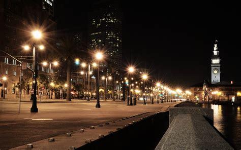 street l at night street lights at night buildings street night lights