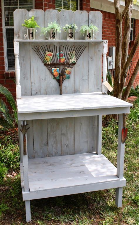 small potting bench diy potting bench coastal charm vintage repurposed