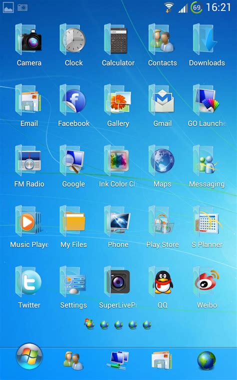 themes free download for android 2 3 6 blue windows 7 golauncher free android apps on google play