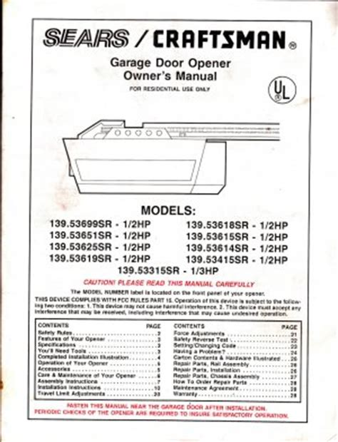 sears craftsman garage door opener owners manual models