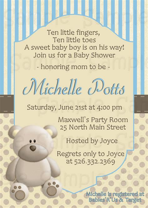 Teddy Baby Shower Invitations Wording by Blue Teddy Baby Shower Invitation Personalized