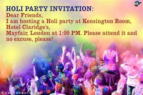Invitation Letter For Holi Invitation Sms For Birthday In Wedding
