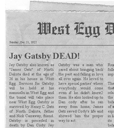 Theme Of Death In The Great Gatsby | jay gatsby obituary the death of a friend pinterest