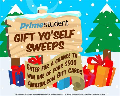Amazon Student Gift Card - amazon prime student gift yo self sweepstakes familysavings