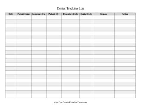 insurance tracking log printable tracking log