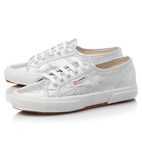 superga sneakers silver superga lamew glitter metallic lace up shoes in metallic