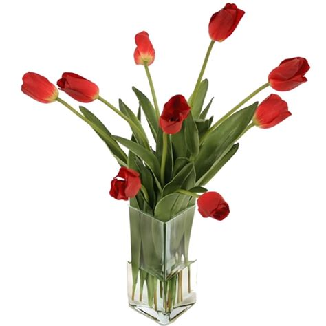 Artificial Tulips In Glass Vase by Waterlook 174 Silk Tulips In A Triangular Glass Vase