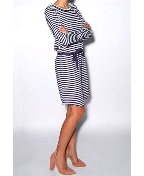 Pakaian Letty Hoodie Stripy White Navy Dress lyst petit bateau navy and white stripe dress in blue