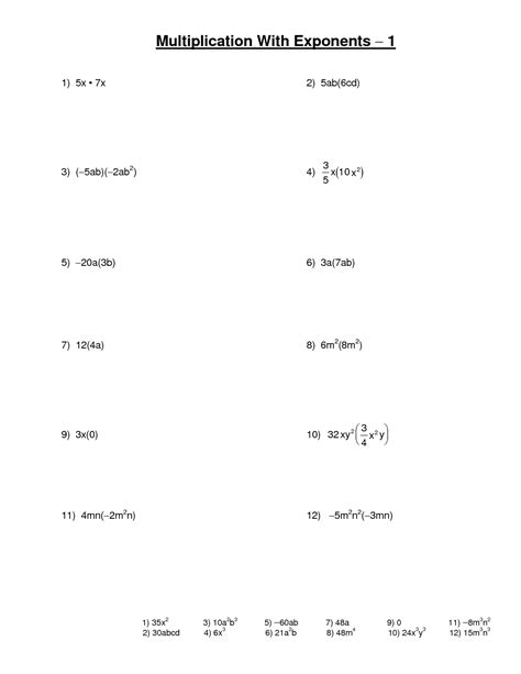Exponent Worksheets Algebra 1 by 16 Best Images Of Multiplication Math Worksheets Exponents