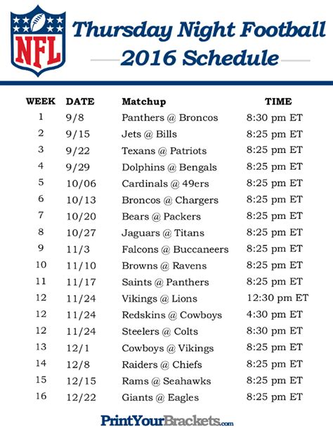 printable nfl thursday night schedule nfl thursday night football schedule 2016 printable