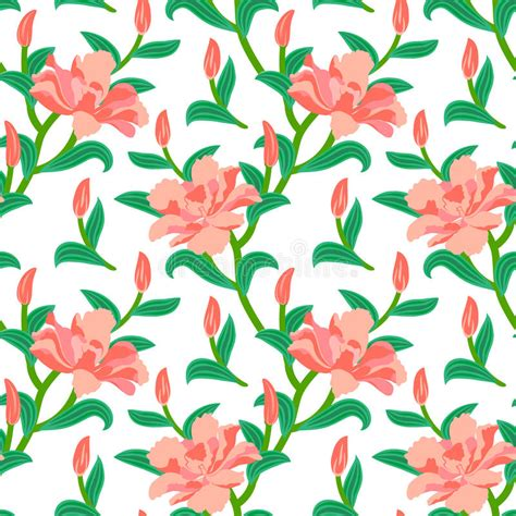 peoni pattern font free floral seamless vector pattern with peony flowers stock