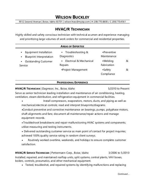 hvac resume exles hvac technician resume sle