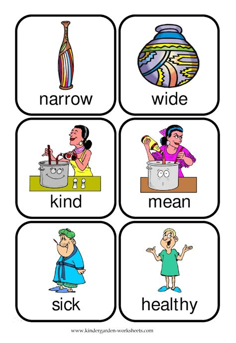 printable opposite cards kindergarten worksheets flashcards opposite words