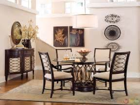 Dining Room Sets Round Table by Intrigue Transitional Round Glass Top Table Amp Chairs