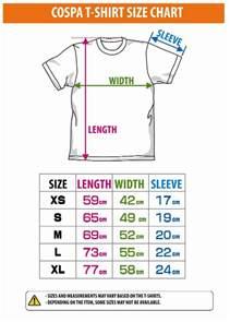 Size chart size chart for cospa t shirt promo pinterest size chart