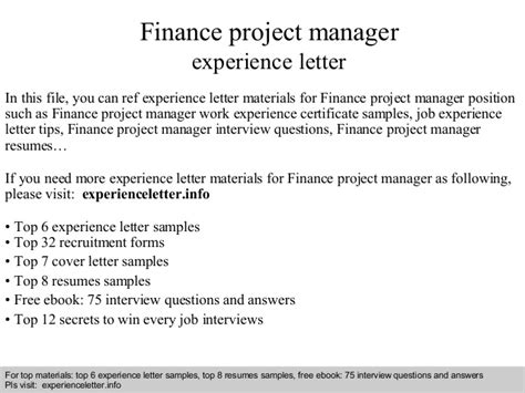 Finance Experience Letter Finance Project Manager Experience Letter