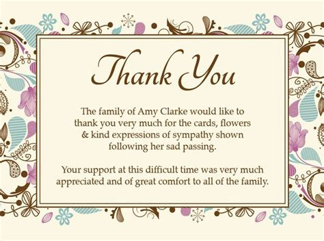 thank you for your service card template funeral thank you card ideas search sympathy