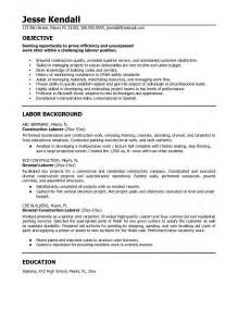 exle construction laborer resume free sle
