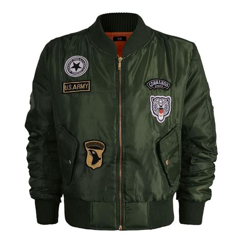 Jaket Bomber Army Jaket Wanita womens classic retro harrington biker jacket ma1 army badges vintage bomber coat ebay
