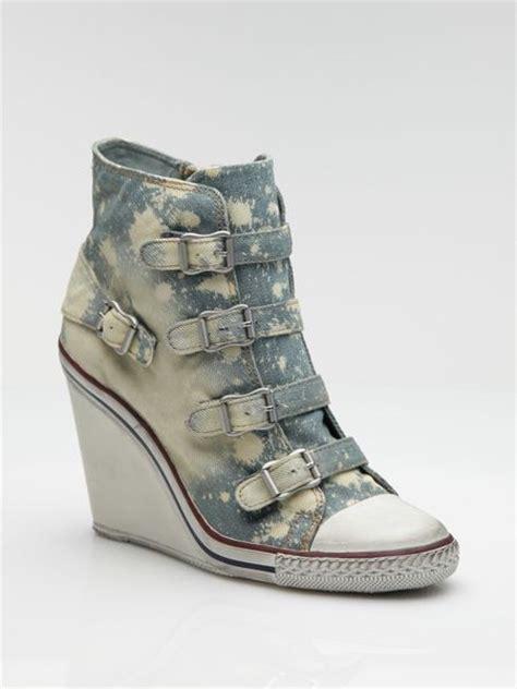 Sneaker Wedges Ash Denim ash distressed denim wedge sneakers in blue denim lyst