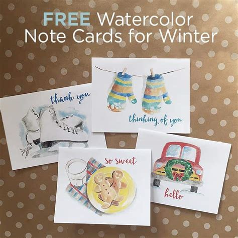 Free Printable Winter Note Cards | free winter watercolor note cards printable greeting cards