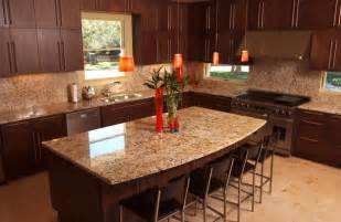 Sample Backsplashes For Kitchens contemporary kitchen with light granite counters dark wood