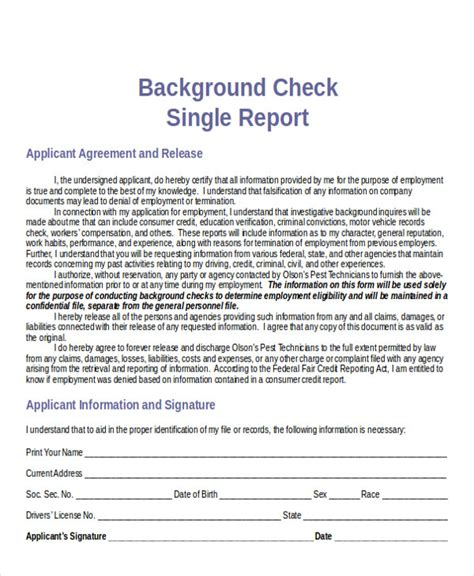 Free Background Check Report Sle Background Check Report 7 Exles In Word Pdf