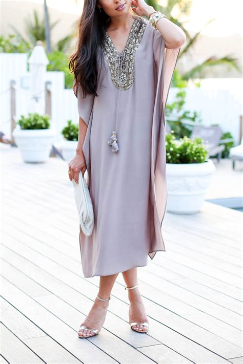Kaftan Satin Payet Gold Syahilla kaftan for a sunset dinner