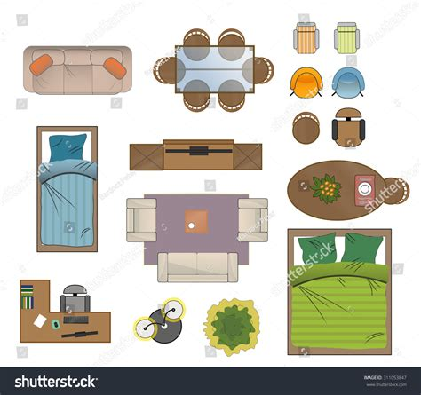 furniture clipart for floor plans floor plan furniture set vector illustration 311053847