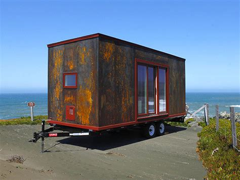 tumbleweed tiny house trailer this tiny home on wheels by tumbleweed is clad in steel