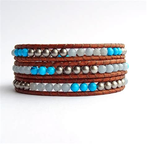 wrap beaded bracelet beaded wrap bracelet leather and bead chalk turquoise blue
