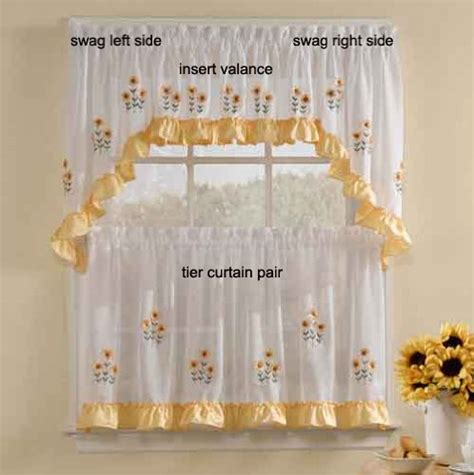 sunflower kitchen curtain sunnyside sunflowers swag pr sheer kitchen curtain 12 99