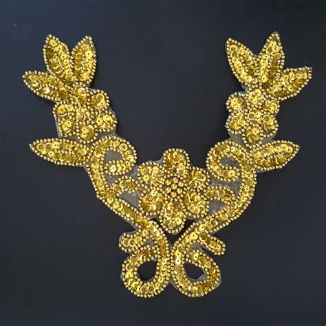 Gold Applique by Gold Floral Sequined Beaded Embroidered Neckline Applique