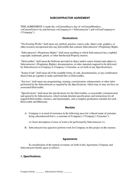 subcontracting contract template subcontractor form contract contractor and employee