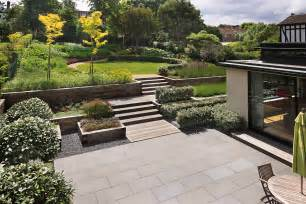 back yard designer beautiful town garden black granite stone paving hard