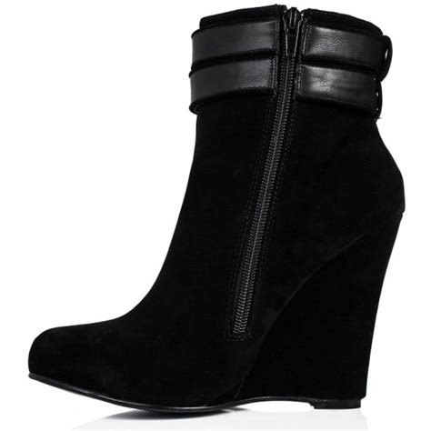 buy wave wedge heel zip ankle boots black suede style
