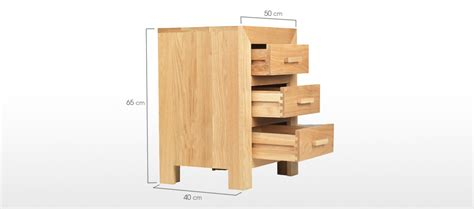bedside table dimensions cube oak 3 drawer bedside cabinet quercus living