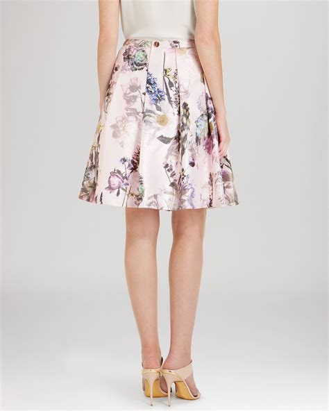 Flower Skirt Rok ted baker quincci floral pleated skirt in pink lyst