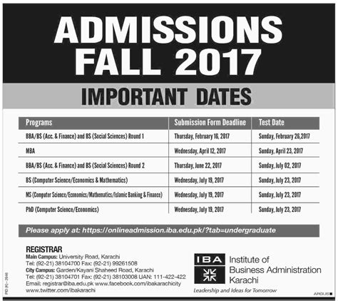 Iba Mba Circular by Institute Of Business Administration Iba Karachi Admission