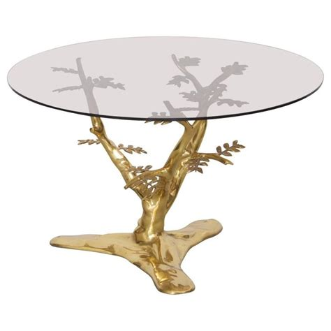 Brass Tree Sculpture Coffee Table With Round Glass Top For Glass Top Coffee Tables For Sale