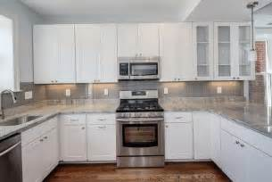 Backsplash Ideas For White Kitchens White Kitchen Grey Glass Backsplash Home Design Ideas