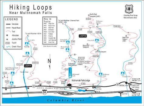 multnomah falls trail map multnomah falls trail historic columbia river highway