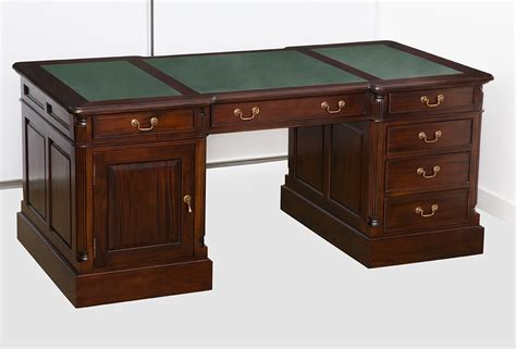everingham mahogany desk with return green leather