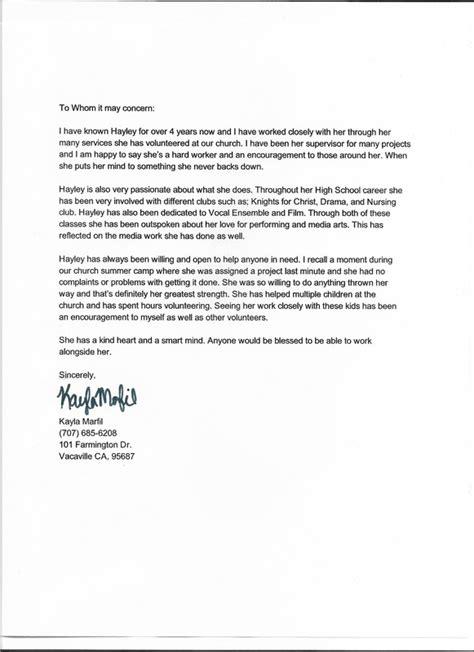 Letter Of Recommendation For College Portfolio letters of recommendation hayley wylie s senior portfolio