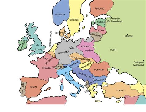 Map Of Europe Before Ww2 by Gallery For Gt European Political Map Ww2