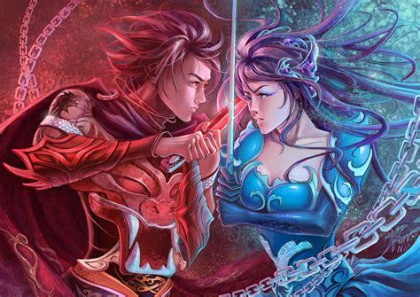 fantasy warrior women females girls men males weapons