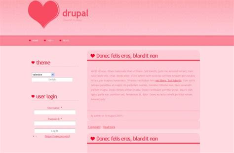 drupal theme user menu light valentine pink drupal theme free download