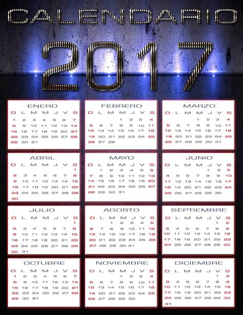 Calendario Año 2017 España Calendario 2017 En Psd Calendarios 2018 Para Photoshop